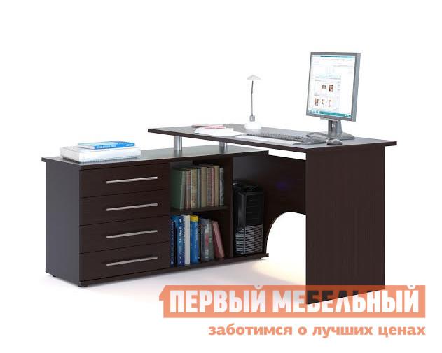 Письменный стол Сокол КСТ-109 Венге, ПравыйПисьменные столы для офиса<br>Габаритные размеры ВхШхГ 750x1400x1270 мм. Угловой компьютерный стол с двумя рабочими поверхностями.  Основная столешница имеет ширину 1400 мм, позволяя разместить компьютер и рабочие материалы.  На малой столешнице — 1200 мм, удобно держать под рукой книги, папки, канцелярию. Стол оборудован тумбой с четырьмя ящиками, открытыми полками и нишей под системный блок.  Такая модель компьютерного стола позволяет организовать функциональную рабочую зону как в домашнем кабинете, так и в офисе. Особенность модели — задняя стенка из ЛДСП, что позволит расположить стол не только у стены, но и в любом удобном месте, не нарушая интерьерной композиции. Внутренний размер ящиков — 456 х 346 мм. Размер ниши под системный блок (ВхШхГ) — 565 х 220 х 440 мм. Обратите внимание! Стол может быть с правым или левым углом (определяется по расположению тумбы).  При оформлении заказа нужно выбрать необходимую ориентацию. Столешница и основание тумбы выполняются из ЛДСП 22 мм, остальные детали — ЛДСП 16 мм.  Края обработаны кромкой ПВХ.   Рекомендуем сохранить инструкцию по сборке (паспорт изделия) до истечения гарантийного срока.<br><br>Цвет: Венге<br>Цвет: Венге<br>Высота мм: 750<br>Ширина мм: 1400<br>Глубина мм: 1270<br>Кол-во упаковок: 2<br>Форма поставки: В разобранном виде<br>Срок гарантии: 2 года<br>Тип: Угловые<br>Материал: Деревянные, из ЛДСП<br>Размер: Большие, Ширина 140 см<br>Особенности: С ящиками, С тумбой, С полками