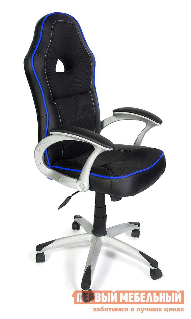 Компьютерное кресло Tetchair PILOT Иск. кожа черная/Ткань черная+синяяИгровые кресла<br>Габаритные размеры ВхШхГ 1260 / 1380x570x460 мм. Стильное компьютерное кресло отлично дополнит современный интерьер офиса или домашнего кабинета.  Эргономичные линии силуэта и яркие вставки придают модели оригинальные штрихи. Высокая спинка и мягкое сидение обеспечат комфортное пребывание в кресле в течении рабочего дня. Искусственная кожа PU;Механизм качания;Высота спинки: 740 мм. Высота от пола до сидения: 520/640 мм. Ширина сидения: 480 мм. Пластиковая крестовина серебристого цвета. Пластиковые подлокотники с мягкими накладками.<br><br>Цвет: Черный<br>Цвет: Синий<br>Высота мм: 1260 / 1380<br>Ширина мм: 570<br>Глубина мм: 460<br>Кол-во упаковок: 1<br>Форма поставки: В разобранном виде<br>Срок гарантии: 1 год<br>Тип: До 80 кг<br>Тип: До 100 кг<br>Материал: Ткань<br>Материал: Искусственная кожа<br>С подлокотниками: Да<br>С мягким сиденьем: Да<br>Пластиковая крестовина: Да<br>С подголовником: Да