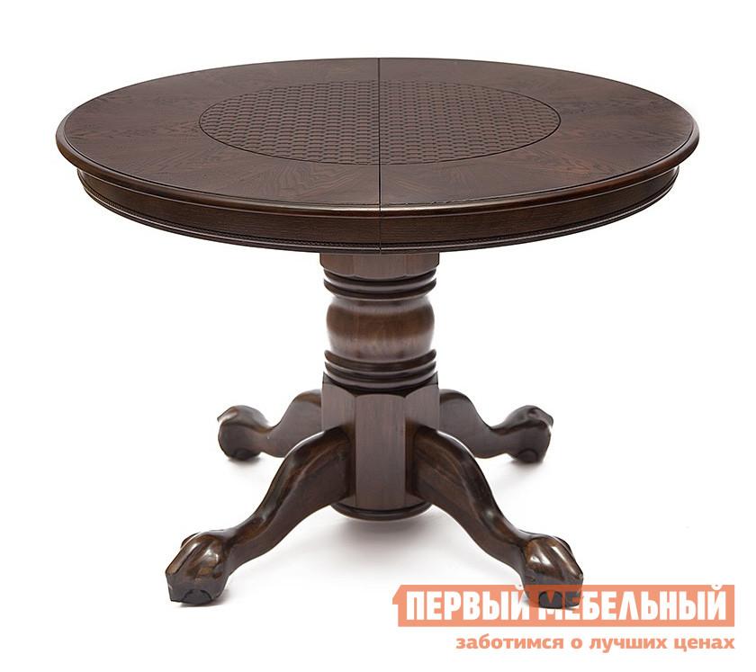 Обеденный стол Tetchair DNDT-4260 Темный дуб (Минди) / Вставка ротанг (МДФ)Обеденные столы<br>Габаритные размеры ВхШхГ 760x1070 / 1530x1070 мм. Круглый обеденный стол, выполненный в английском стиле, прекрасно впишется в классический интерьер кухни, гостиной или столовой зоны.   Темный благородный оттенок натурального дерева, из которого изготовлен стол, привнесет уюта и тепла в комнате.  Вертикальная опора декорирована фигурной резьбой.  От опоры расходятся четыре ножки, похожие на львиные лапы — одна из ключевых деталей английского стиля. Особенностью модели является оригинально оформленная столешница, по центру полотна которой располагается вставка из МДФ.  Данная вставка может быть выполнена в трех вариантах: имитация под ротанг, каменную кладку или кожу крокодила. Стол раскладывается до 1530 мм, благодаря дополнительной столешнице шириной 460 мм.  Обратите внимание, в сложенном состоянии дополнительная столешница хранится отдельно от стола. Каркас стола, опора, ножки и основание столешницы изготавливаются из массива гевеи.  Верхняя часть столешницы покрыта дубовым шпоном со вставкой из МДФ.<br><br>Цвет: Коричневое дерево<br>Высота мм: 760<br>Ширина мм: 1070 / 1530<br>Глубина мм: 1070<br>Кол-во упаковок: 2<br>Форма поставки: В разобранном виде<br>Срок гарантии: 1 год<br>Тип: Раздвижные<br>Тип: Трансформер<br>Материал: Дерево<br>Материал: Натуральное дерево<br>Материал: Шпон<br>Порода дерева: Гевея<br>Порода дерева: Дуб<br>Форма: Круглые<br>Форма: Овальные<br>Размер: Маленькие<br>С одной ножкой: Да