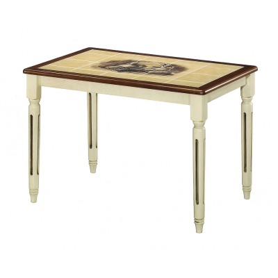 Обеденный стол Tetchair CT 3045P (Дубай) Античный белый / Темный дуб