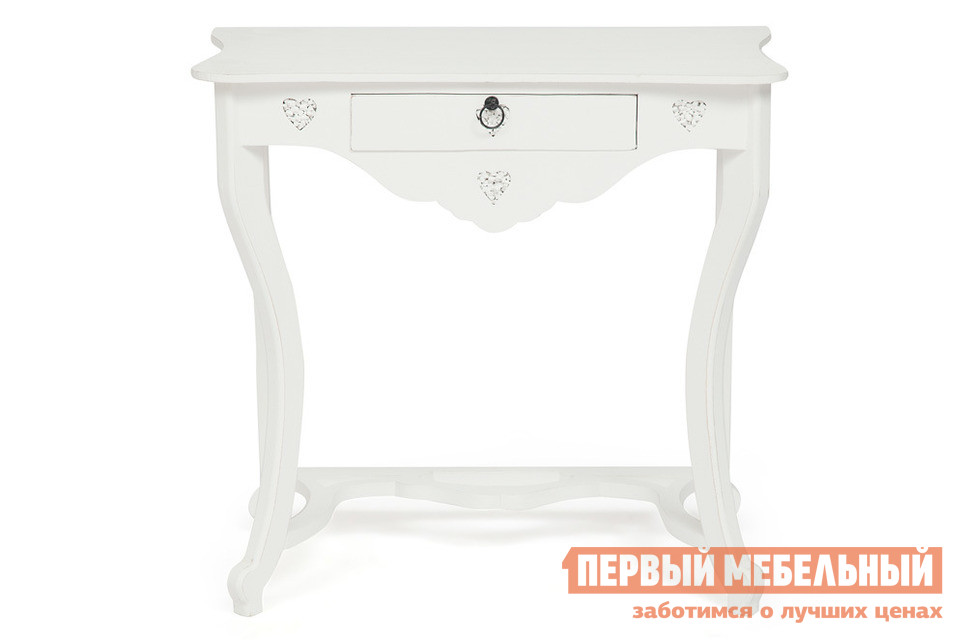 Консоль Tetchair Столик Secret De Maison BOUDOIR (mod. 217-1122) Античный белый Tetchair Габаритные размеры ВхШхГ 750x1000x400 мм. Столик Будуар станет замечательным помощником в оформлении спальной комнаты или гостиной.  Изделие с лёгкостью сочетает в себе функции консоли и туалетного столика. <br>Материал изготовления модели — массив манго.  Натуральная древесина, используемая в производстве мебели, гарантирует качество, долговечность и износостойкость изделий. <br>Столик оснащен небольшим выдвижным ящиком, в котором можно хранить косметику, аксессуары и другие, нужные вам мелочи.  Для удобства в использовании, фасад ящика оснащен металлической ручкой-кольцом. <br>Модель декорирована очаровательными вырезами в форме сердца, которые заполнены мелким камнем. <br>Обратите внимание, поверхность выкрашена особым образом с эффектом потертостей.  Это не является браком. <br>