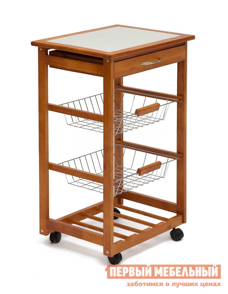 Сервировочный столик Tetchair SN-1911 НатуральныйСервировочные столики<br>Габаритные размеры ВхШхГ 800x470x370 мм. Экологичный и функциональный сервировочный столик из натурального дерева.  Изделие станет полезным элементом кухонного интерьера.  Колесики пригодятся для легкого перемещения. Столик оборудован выдвижным ящиком, двумя выдвижными металлическими корзинами.  Он может использоваться не только при сервировке стола, но и как небольшой стеллаж для хранения в кухне или ванной комнате. Столик выполнен из натурального бамбука. Столешница облицована плиткой. Корзины — сталь.<br><br>Цвет: Натуральный<br>Цвет: Коричневое дерево<br>Высота мм: 800<br>Ширина мм: 470<br>Глубина мм: 370<br>Кол-во упаковок: 1<br>Форма поставки: В разобранном виде<br>Срок гарантии: 1 год<br>Материал: Деревянные, Из натурального дерева<br>Порода дерева: из бамбука<br>Форма: Прямоугольные<br>Особенности: С полкой, С ящиками, На колесиках, 3-х ярусный