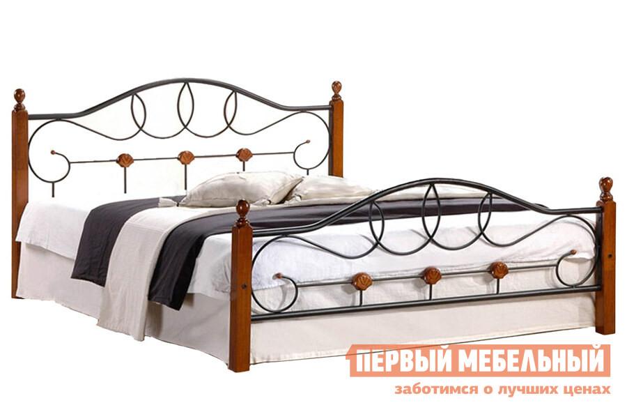 Кровать Tetchair AT-822 Гевея / Металл, QUEEN 1600 Х 2030Двуспальные кровати<br>Габаритные размеры ВхШхГ 950x1400 / 1600x2140 / 2170 мм. Опоры кровати выполнены из натуральной гевеи (каучукового дерева) и отличаются повышенной прочностью.  Особое изящество форм достигается за счет сочетания металлических прутьев и дерева.  Каркас кровати выполнен из металла.  Кровать изготавливается в трех вариантах в зависимости от ширины спального места. Материал каркаса: Гевея, металл. Основание кровати: металлические решетка, входит в стоимость. Максимальная нагрузка — 200 кг. Обратите внимание! Кровать продается без матраса, подходящие варианты матрасов вы можете найти в разделе «Аксессуары».<br><br>Цвет: Черный<br>Цвет: Красное дерево<br>Высота мм: 950<br>Ширина мм: 1400 / 1600<br>Глубина мм: 2140 / 2170<br>Кол-во упаковок: 2<br>Форма поставки: В разобранном виде<br>Срок гарантии: 1 год<br>Тип: Простые<br>Материал: Металл<br>Материал: Натуральное дерево<br>Порода дерева: Гевея<br>Размер: Спальное место 140Х200<br>Размер: Спальное место 160Х200<br>На ножках: Да<br>Без подъемного механизма: Да