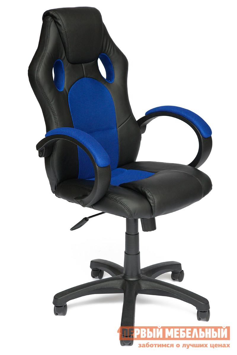 Фото Компьютерное кресло Tetchair RACER GT Иск.кожа черная / Ткань синяя, 36-6/10. Купить с доставкой