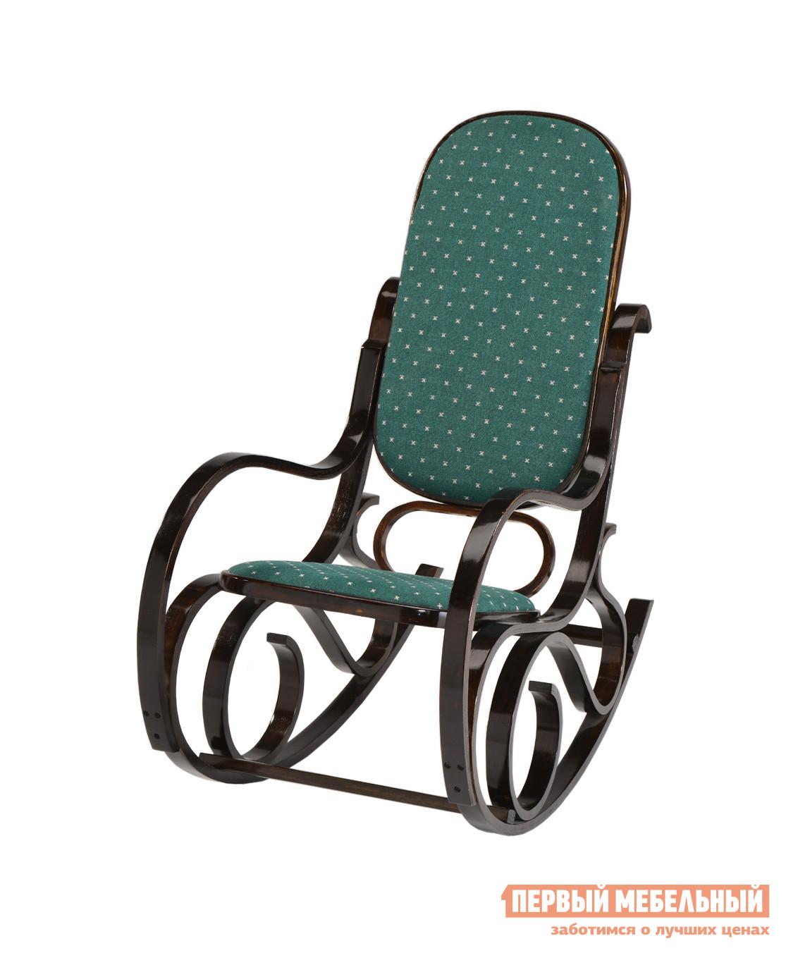 Кресло-качалка Tetchair RC-8001 Орех / Ткань Роял Грин (зеленая)