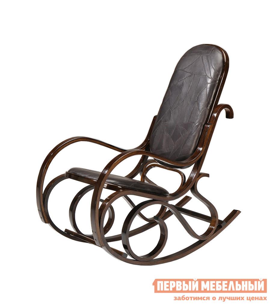 Кресло-качалка Tetchair RC-8001 Орех / Иск.кожа Блэк Пазл (черная)