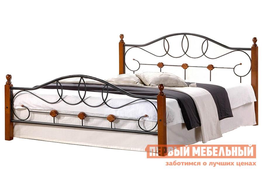 Полутороспальная кровать Tetchair AT-822 Гевея / Металл, Double Bed 1400 Х 2000 Tetchair Габаритные размеры ВхШхГ 950x1400x2140 мм. Опоры кровати выполнены из натуральной гевеи (каучукового дерева) и отличаются повышенной прочностью.  Особое изящество форм достигается за счет сочетания металлических прутьев и дерева.  Каркас кровати выполнен из металла. <br><br>Материал каркаса: Гевея, металл. <br>Основание кровати: металлическая решетка, входит в стоимость. <br>Максимальная нагрузка: 200 кг. <br>Спальное место: 1400х2000 мм. <br><br>Обратите внимание! Кровать продается без матраса, подходящие варианты матрасов вы можете найти в разделе «Аксессуары». <br>
