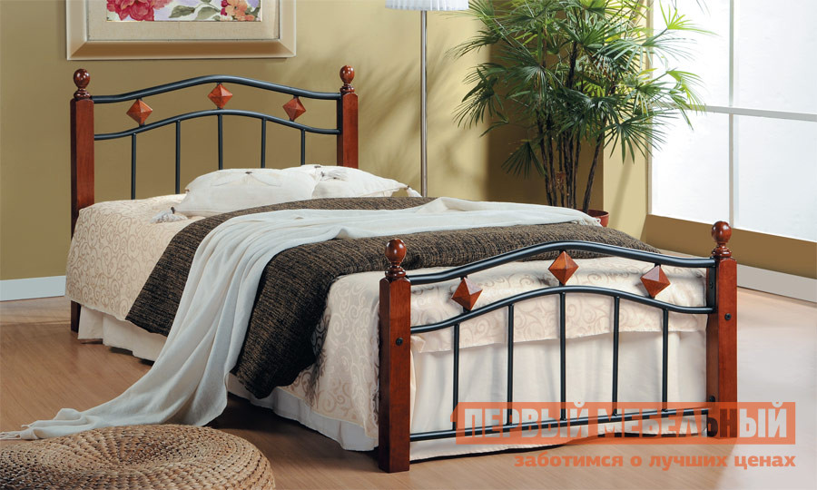 Кровать металлическая двуспальная Tetchair AT-126 tetchair кровать tetchair at 126 queen 1600 х 2030 гевея металл без матраса