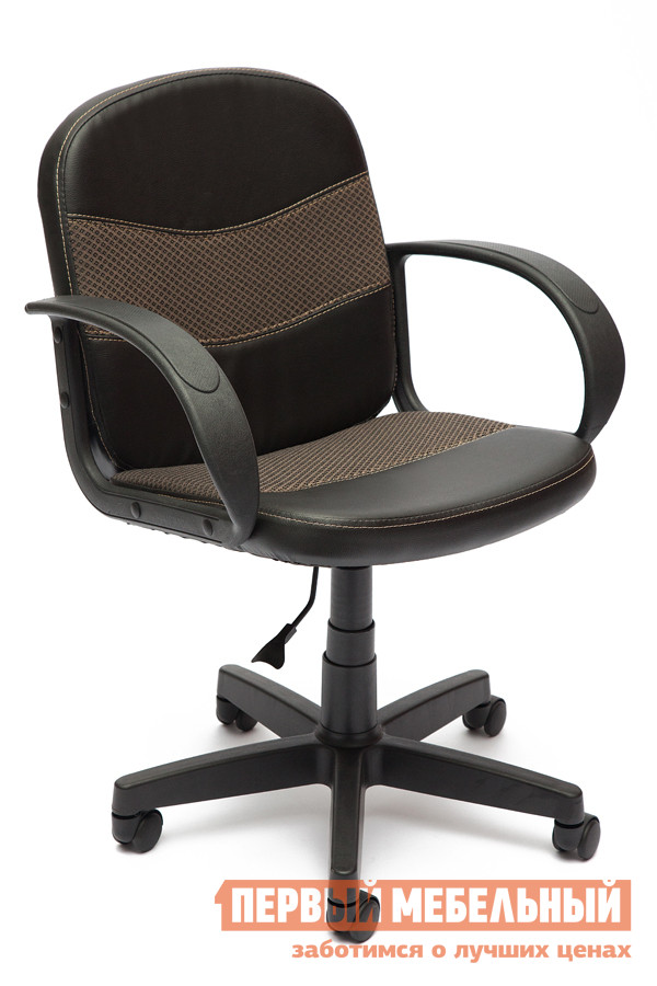 Кресло для офиса Tetchair BAGGI Иск. кожа черная / ткань бежевая от Купистол