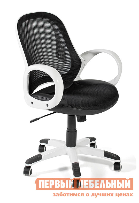 Офисное кресло Tetchair MONRO (388 М01) Черная сетка/белый пластик/Черная ткань TW+иск. черн. кожа от Купистол