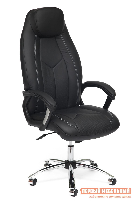 Кресло руководителя Tetchair BOSS (хром) Иск.кожа черная перфор. (36-6/36-6/06)