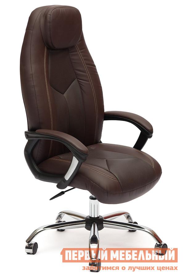 Кресло руководителя Tetchair BOSS (хром) Иск.кожа коричневая перфор. (36-36/36-36/06)