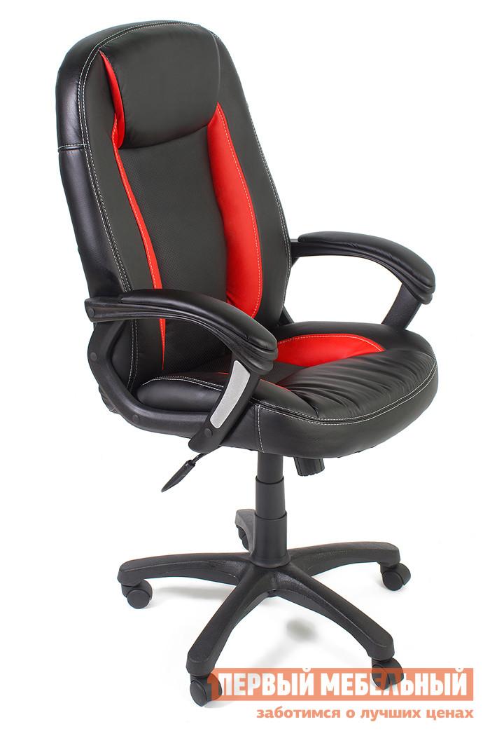 Кресло руководителя Tetchair BRINDISI ST Иск. кожа красная / Черная (перфорация)