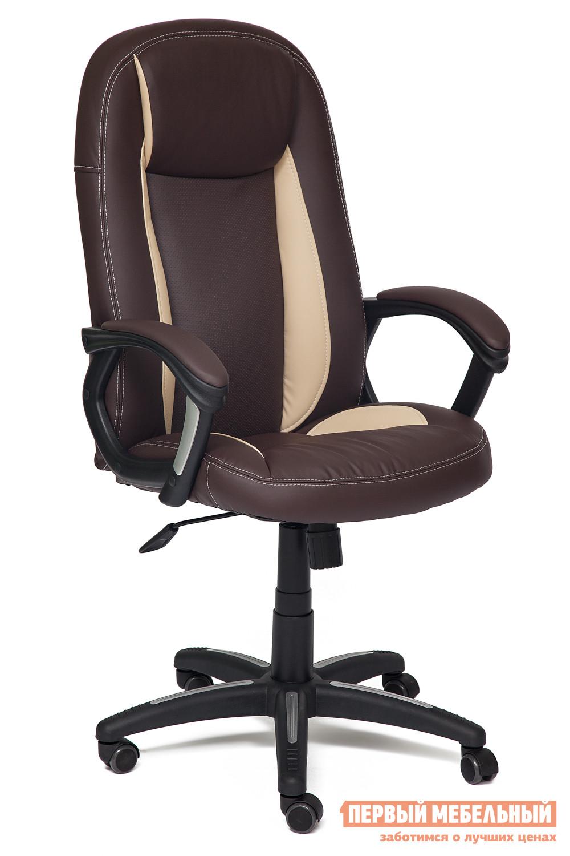 Кресло руководителя Tetchair Brindisi Иск.кожа коричневая,беж,кор. перф.(36-36/36-34/36-66/06)