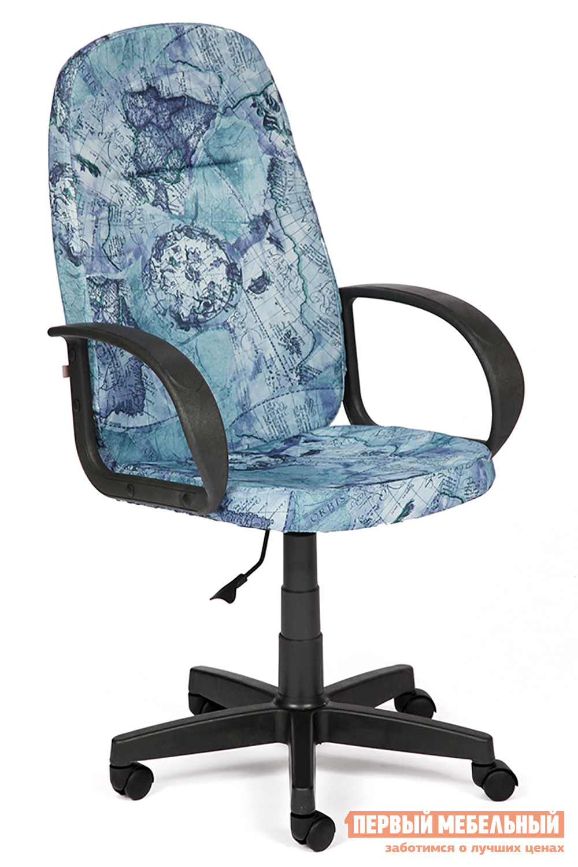 Кресло руководителя  Leader Ткань «Карта на синем»