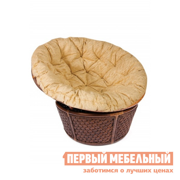 Купить со скидкой Плетеное кресло Tetchair ANDREA 23/01 Античный орех (ротанг) / Кремовая подушка