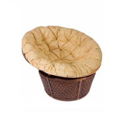Плетеное кресло Tetchair ANDREA 23/01 Античный орех (ротанг) / Кремовая подушка