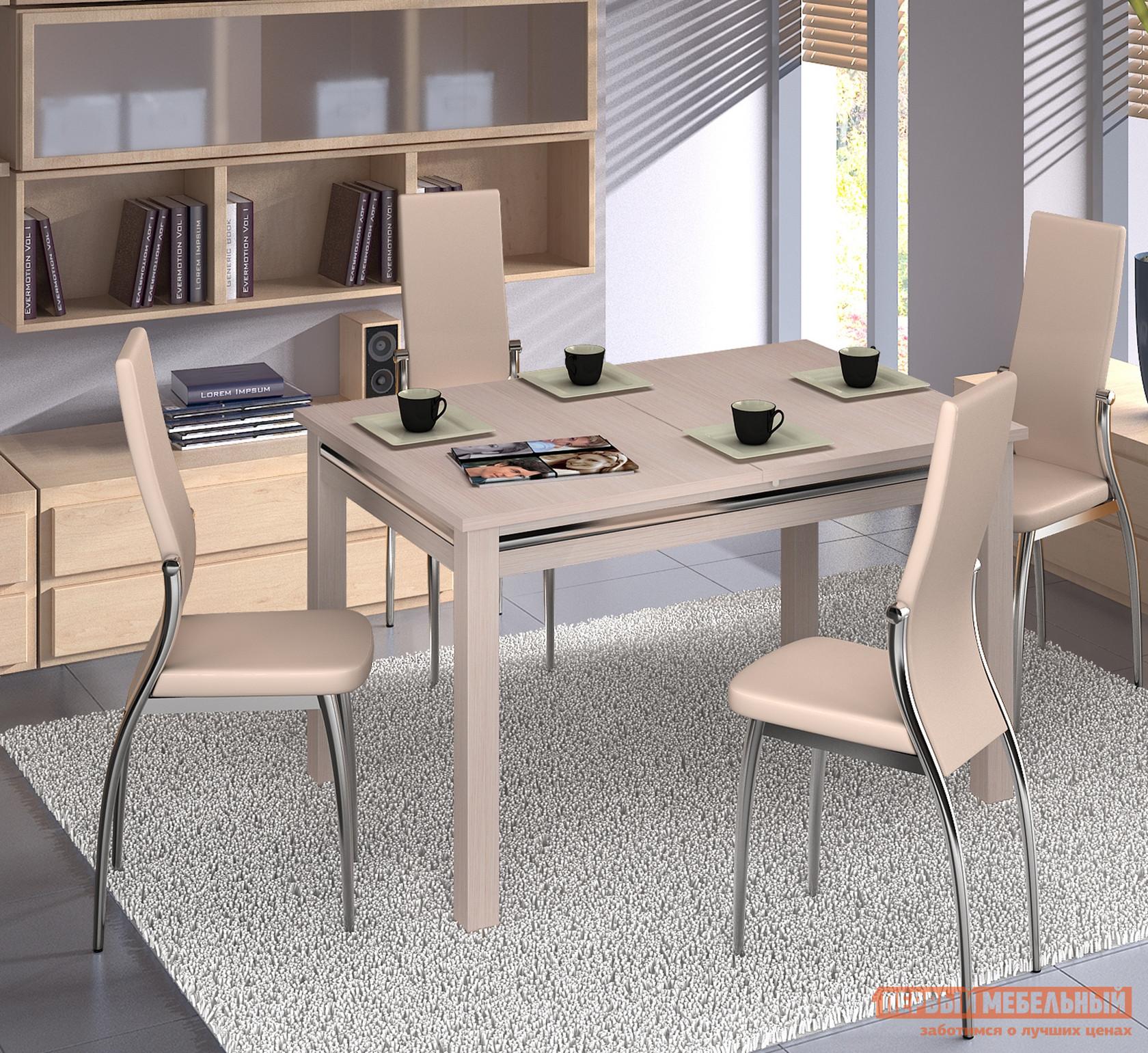 Обеденная группа для столовой и гостиной Домотека Стол Сигма-1 08 + 4 стула Милано