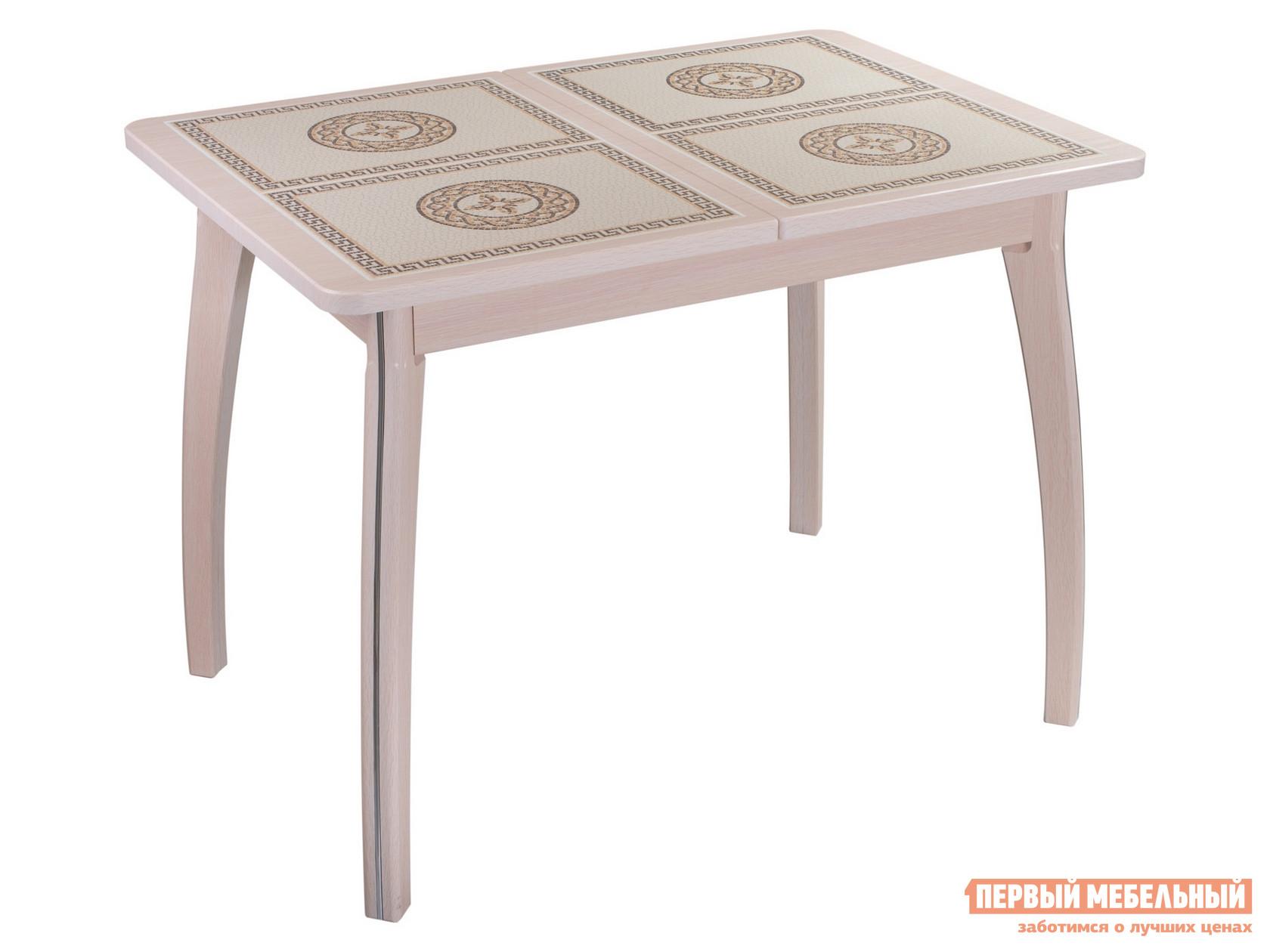Кухонный стол  Каппа ПР ВП 7 Молочный дуб / Плитка 52