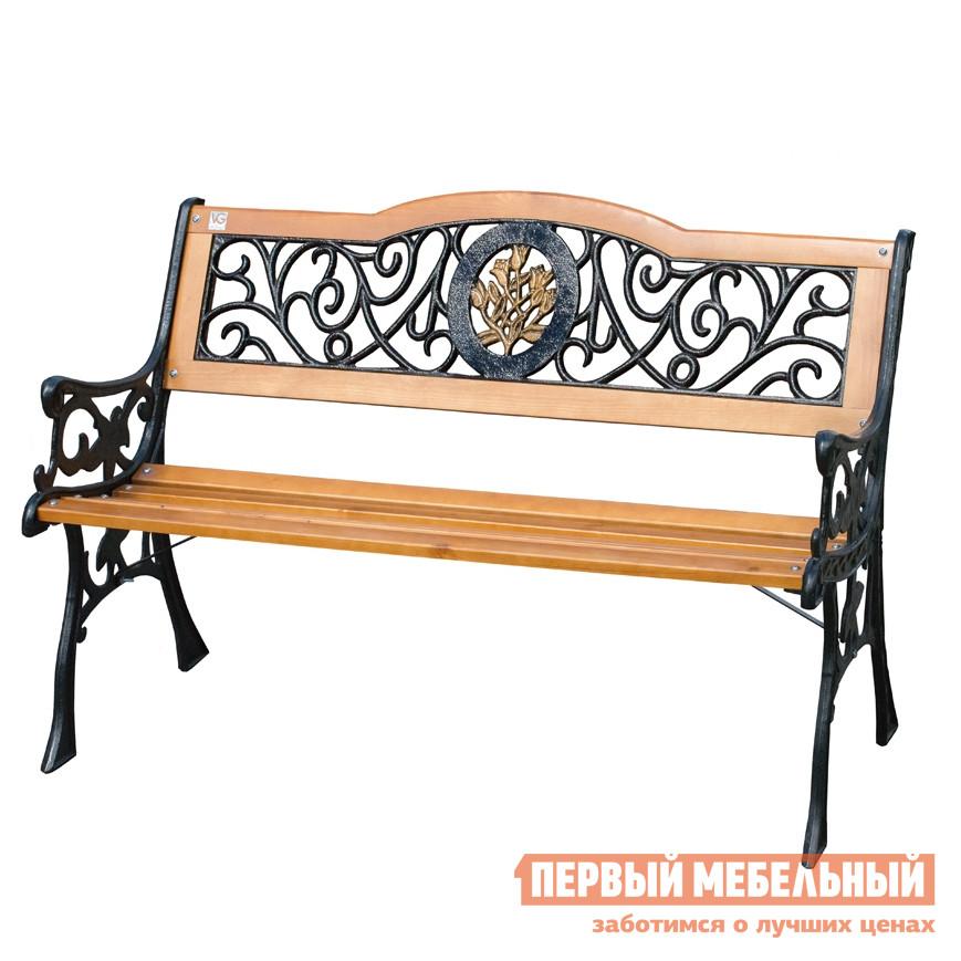 Чугунная скамейка садовая со спинкой Симтрейд Лилия 01.036.0