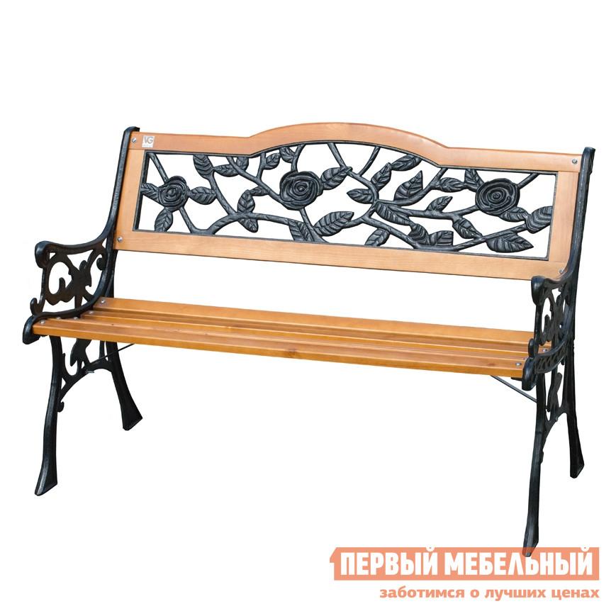 Чугунная скамейка парковая со спинкой Симтрейд Роза 01.042.0