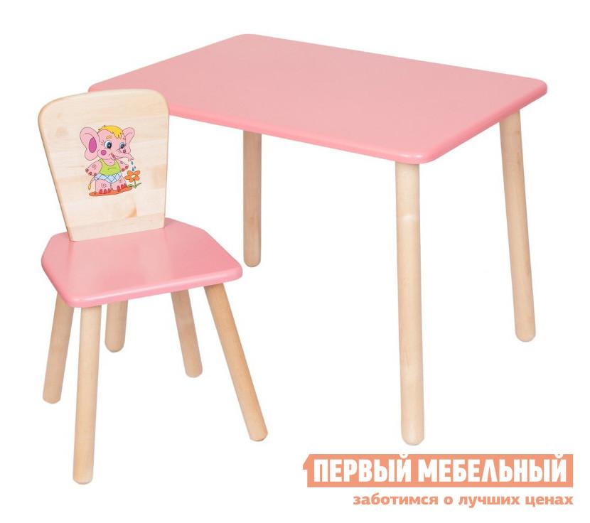 Столик и стульчик РусЭкоМебель Стол Большой 70*50 ЭКО+Стул Квадратный ЭКО Эко розовый, рис. Слоненок