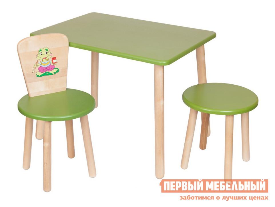 Столик и стульчик РусЭкоМебель Набор №3: Стол Большой 70*50 ЭКО+Стул Круглый ЭКО+Табурет ЭКО Эко зеленый, рис. ЛягушонокСтолики и стульчики<br>Габаритные размеры ВхШхГ 720x700x500 мм. Комплект мебели для детской комнаты.  Отличный вариант для меблировки зоны для игр и творчества.  Набор подходит для детей от 2 года до 7 лет.  Разнообразие цветовых решений и лаконичный дизайн изделий позволит подобрать комплект для любого интерьера. Набор включает в себя столик с прямоугольной столешницей, стульчик и табуреточку.  Спинка стульчика декорирована ярким рисунком. Высота стола — 520 мм, размеры столешницы (ШхГ) — 700 х 500 мм. Высота стула составляет 570 мм. Высота от пола до сидения стула и табуретки — 320 мм. Диаметр сидений — 310 мм. Вес стола составляет 6 кг, стульчика — 2,2 кг, табуретки — 1,8 кг. Табурет и стул выдерживают вес до 100 кг. Мебель изготавливается из натурального дерева — березы, все края тщательно обработаны и отшлифованы.  Цветные поверхности покрыты экологически безопасной краской, ножки обработаны лаковым покрытием.<br><br>Цвет: Зеленый<br>Высота мм: 720<br>Ширина мм: 700<br>Глубина мм: 500<br>Кол-во упаковок: 3<br>Форма поставки: В разобранном виде<br>Срок гарантии: 12 месяцев<br>Материал: Дерево<br>Материал: Натуральное дерево<br>Порода дерева: Береза<br>Пол: Для девочек<br>Пол: Для мальчиков