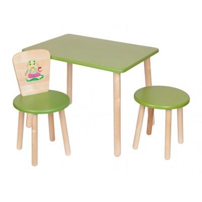 Столик и стульчик РусЭкоМебель Набор №2: Стол Большой 70*50 ЭКО+Стул Круглый ЭКО+Табурет ЭКО Эко зеленый, рис. Лягушонок