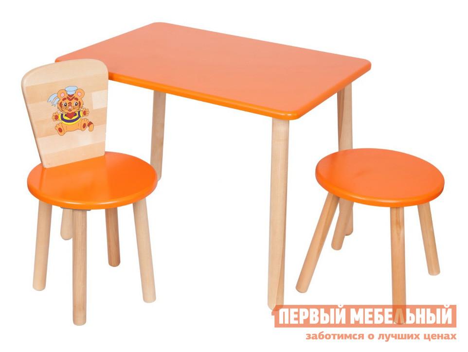 Столик и стульчик РусЭкоМебель Набор №3: Стол Большой 70*50 ЭКО+Стул Круглый ЭКО+Табурет ЭКО Эко оранжевый, рис. ТигренокСтолики и стульчики<br>Габаритные размеры ВхШхГ 720x700x500 мм. Комплект мебели для детской комнаты.  Отличный вариант для меблировки зоны для игр и творчества.  Набор подходит для детей от 2 года до 7 лет.  Разнообразие цветовых решений и лаконичный дизайн изделий позволит подобрать комплект для любого интерьера. Набор включает в себя столик с прямоугольной столешницей, стульчик и табуреточку.  Спинка стульчика декорирована ярким рисунком. Высота стола — 520 мм, размеры столешницы (ШхГ) — 700 х 500 мм. Высота стула составляет 570 мм. Высота от пола до сидения стула и табуретки — 320 мм. Диаметр сидений — 310 мм. Вес стола составляет 6 кг, стульчика — 2,2 кг, табуретки — 1,8 кг. Табурет и стул выдерживают вес до 100 кг. Мебель изготавливается из натурального дерева — березы, все края тщательно обработаны и отшлифованы.  Цветные поверхности покрыты экологически безопасной краской, ножки обработаны лаковым покрытием.<br><br>Цвет: Оранжевый<br>Высота мм: 720<br>Ширина мм: 700<br>Глубина мм: 500<br>Кол-во упаковок: 3<br>Форма поставки: В разобранном виде<br>Срок гарантии: 12 месяцев<br>Материал: Дерево<br>Материал: Натуральное дерево<br>Порода дерева: Береза<br>Пол: Для девочек<br>Пол: Для мальчиков