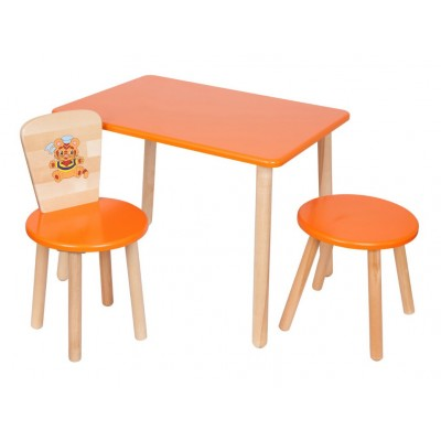 Столик и стульчик РусЭкоМебель Набор №2: Стол Большой 70*50 ЭКО+Стул Круглый ЭКО+Табурет ЭКО Эко оранжевый, рис. Тигренок