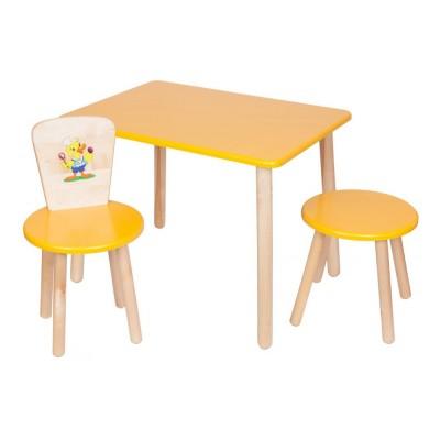 Столик и стульчик РусЭкоМебель Набор №2: Стол Большой 70*50 ЭКО+Стул Круглый ЭКО+Табурет ЭКО Эко желтый, рис. Утенок