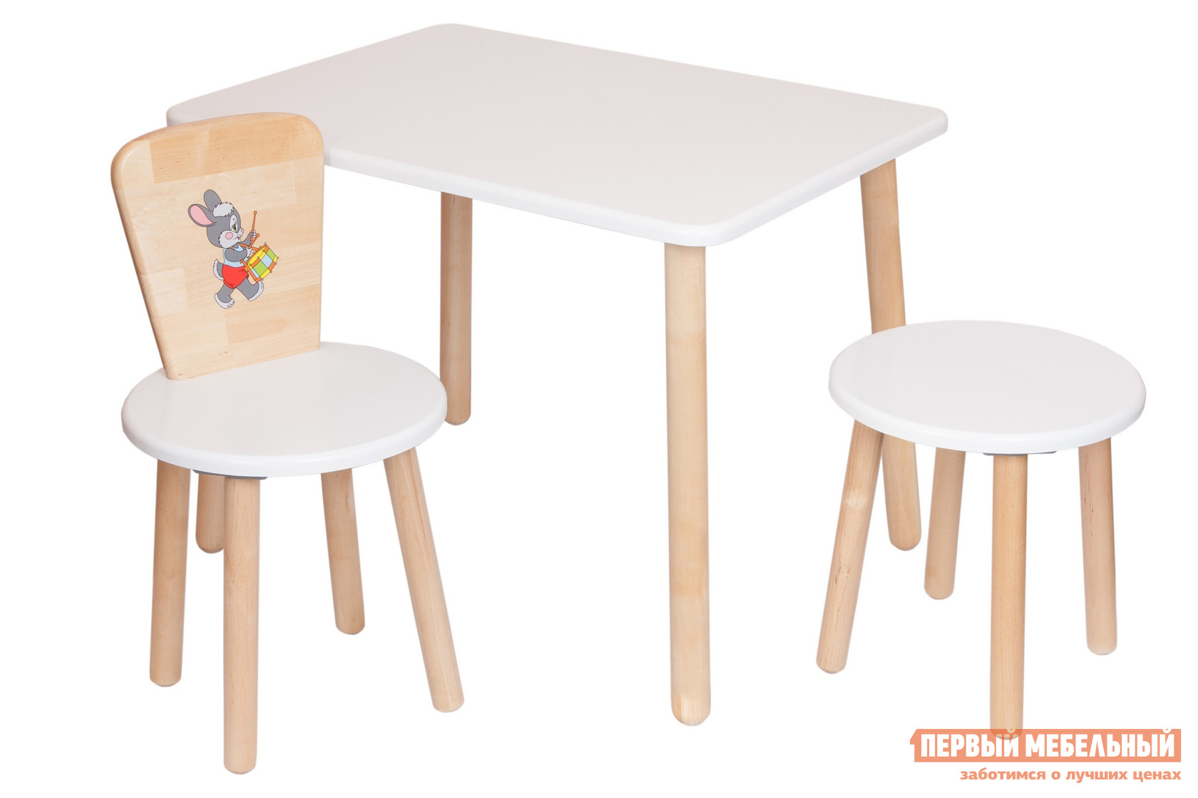 Столик и стульчик РусЭкоМебель Набор №2: Стол Большой 70*50 ЭКО+Стул Круглый ЭКО+Табурет ЭКО Эко белый, рис. Зайчик
