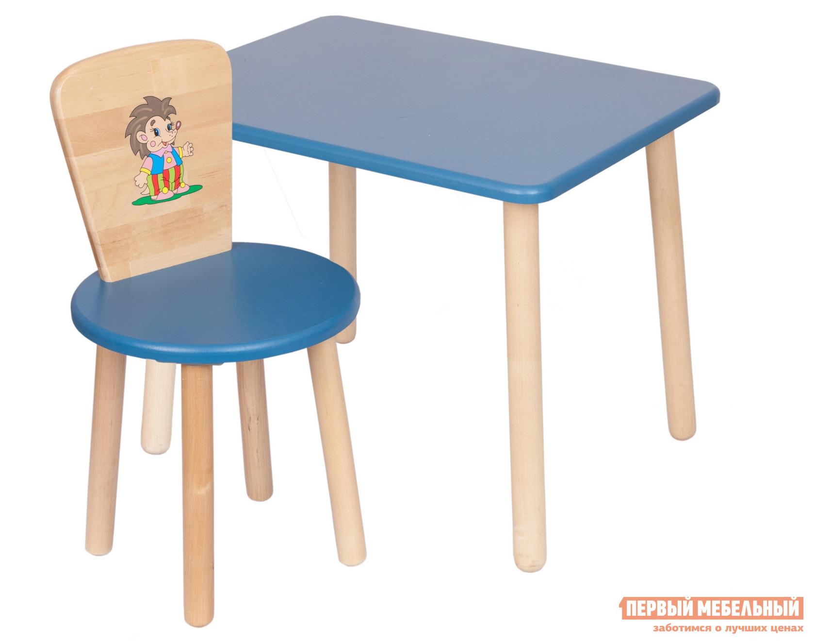 Столик и стульчик РусЭкоМебель Набор №1: Стол Большой 70*50 ЭКО+Стул Круглый ЭКО Эко синий, рис. Ежик