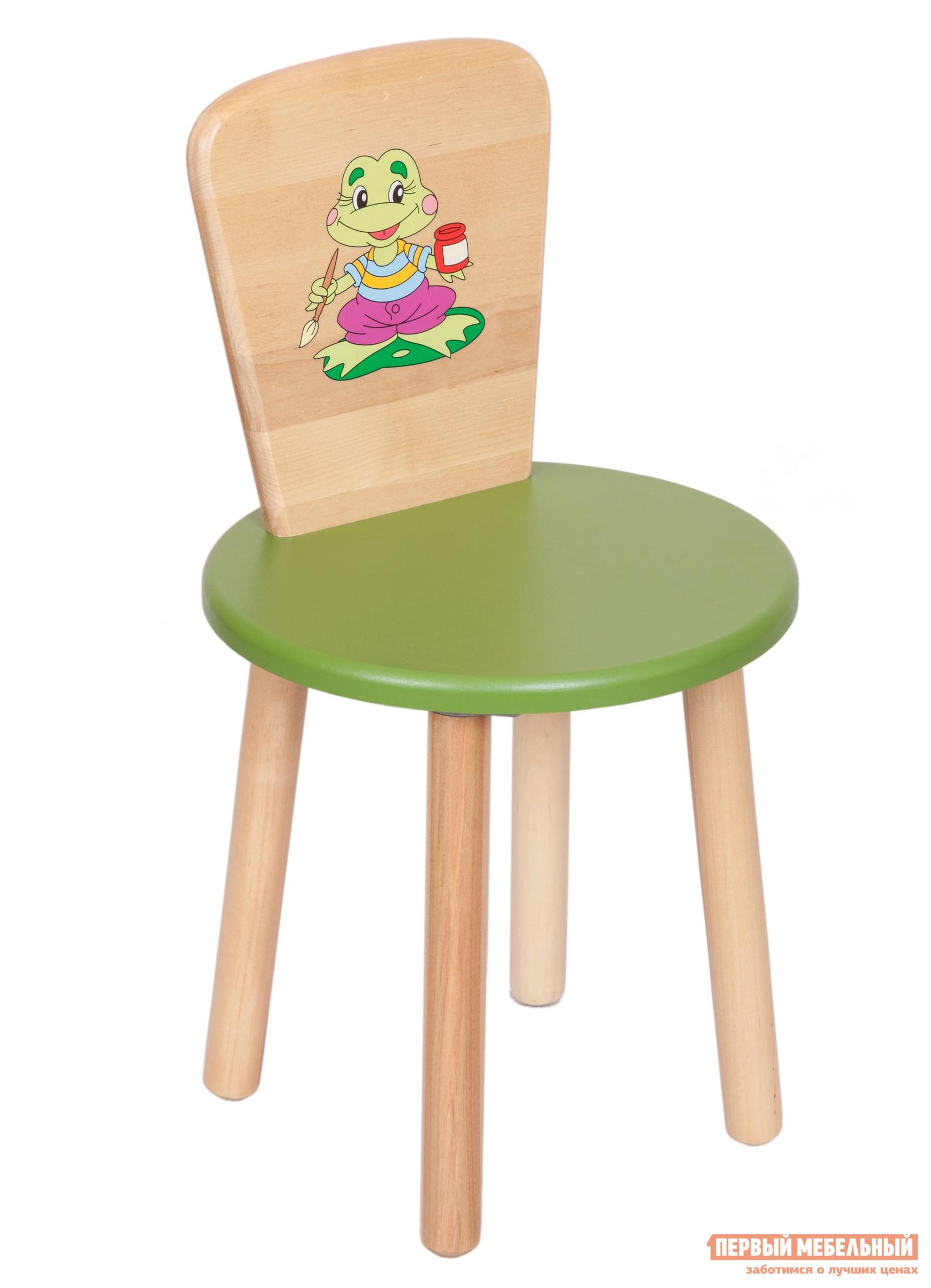 Столик и стульчик РусЭкоМебель Стул Круглый ЭКО Эко зеленый, рис. Лягушонок