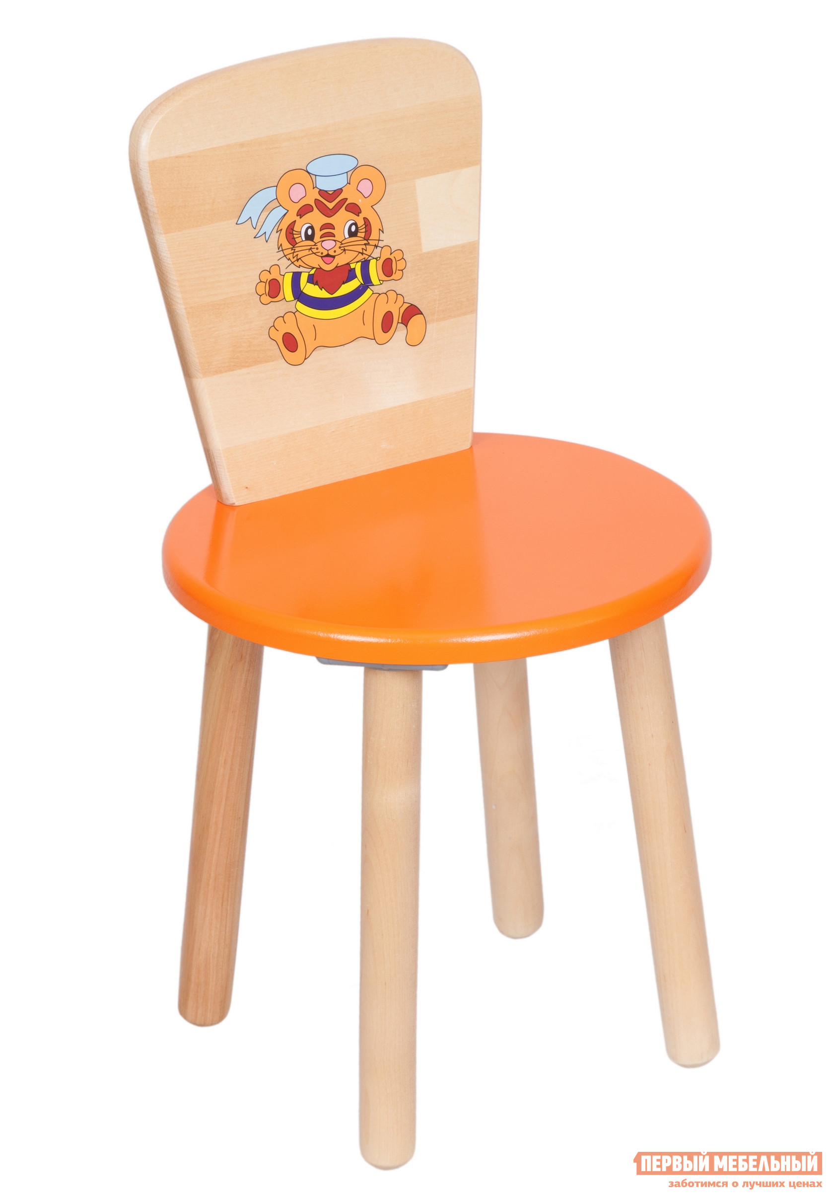 Фото Столик и стульчик РусЭкоМебель Стул Круглый ЭКО Эко оранжевый, рис. Тигренок. Купить с доставкой