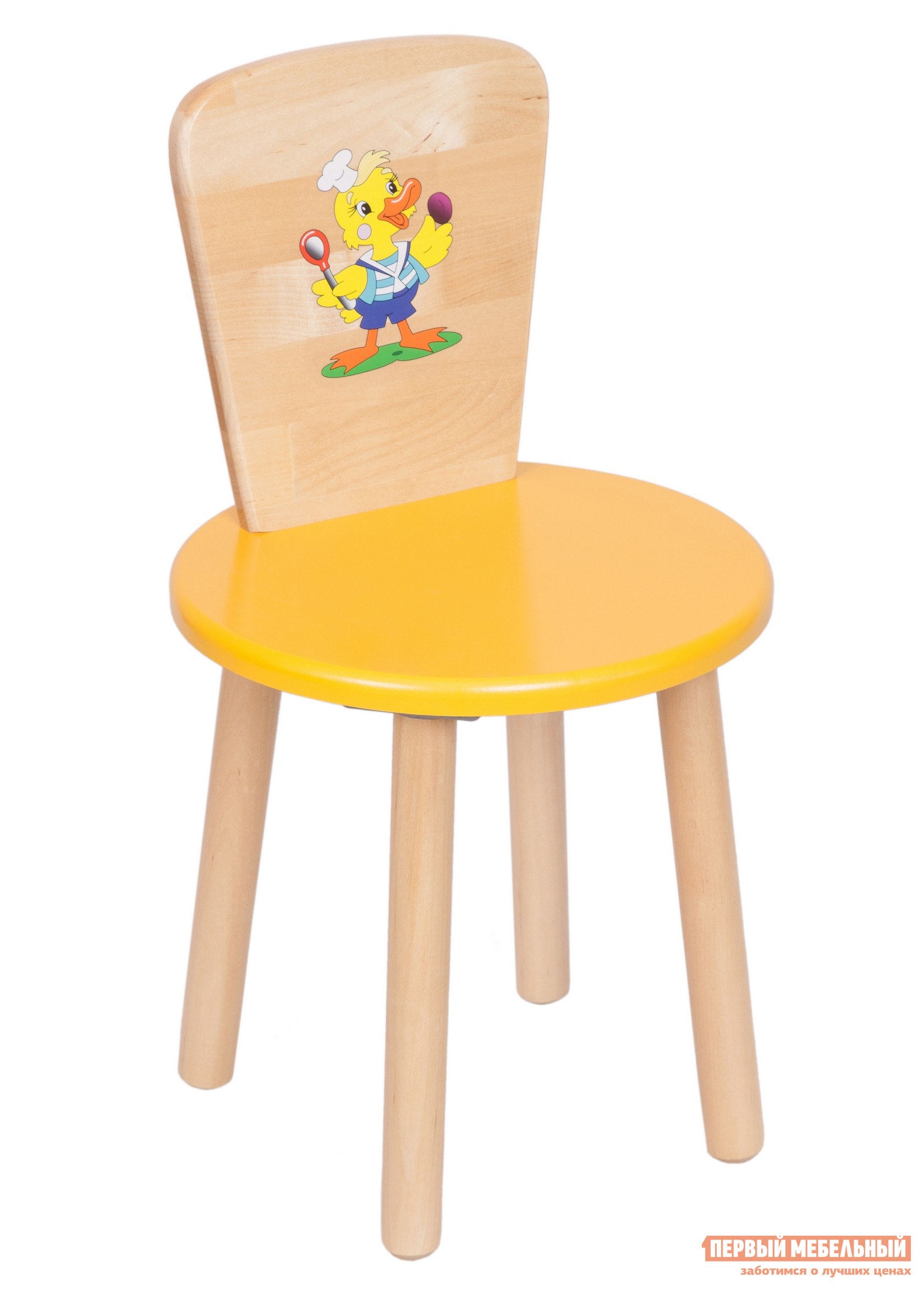 Столик и стульчик РусЭкоМебель Стул Круглый ЭКО Эко желтый, рис. Утенок