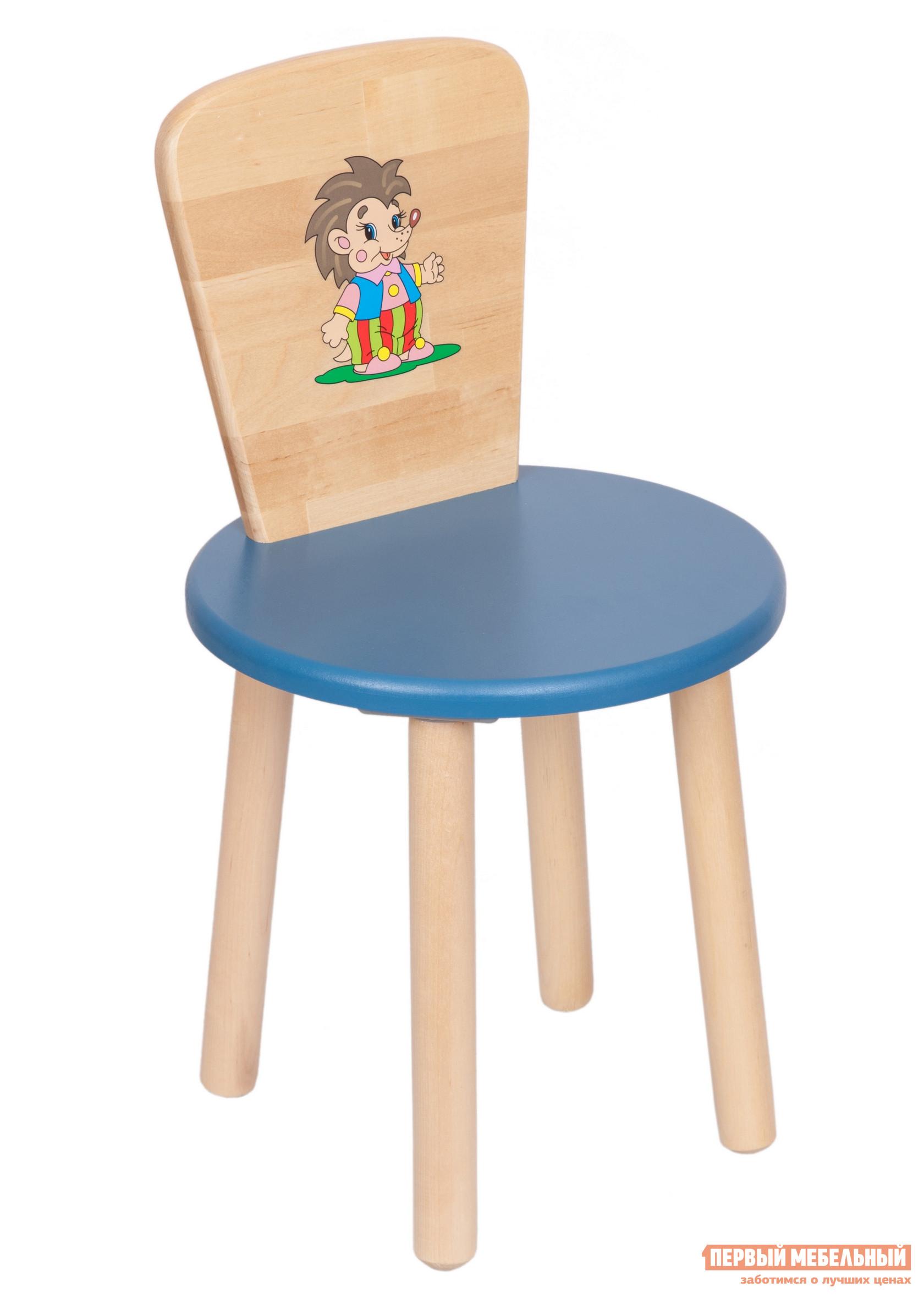 Фото Столик и стульчик РусЭкоМебель Стул Круглый ЭКО Эко синий, рис. Ежик. Купить с доставкой