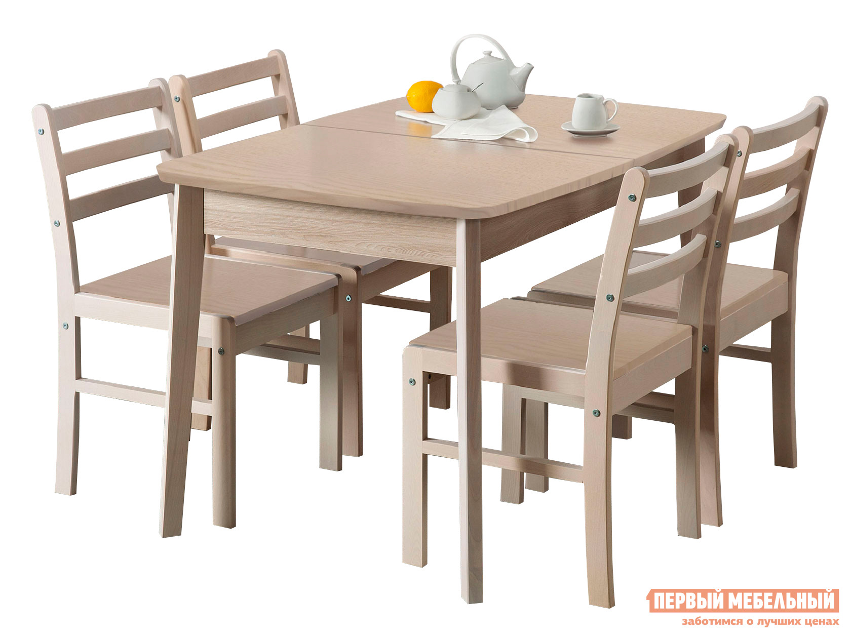 Обеденная группа для столовой и гостиной Боровичи Стол обеденный раздвижной (овальная крышка) + 4 стула Массив