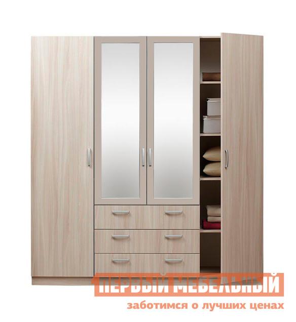 Шкаф распашной Боровичи Эко 4-х дверный с зеркалом Шимо светлый