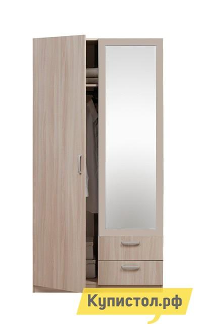 Шкаф распашной Боровичи Эко 2-х дверный с ящиками+зеркало Шимо светлый, С зеркалом