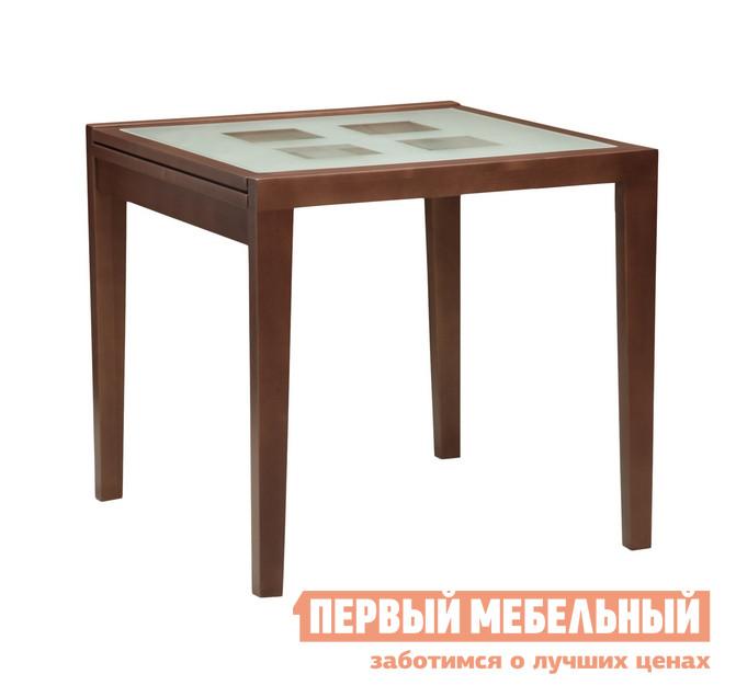 Кухонный стол Боровичи Стол обеденный раздвижной со стеклом Береза шоколад