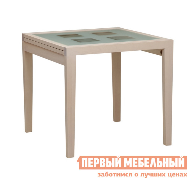 Кухонный стол Боровичи Стол обеденный раздвижной со стеклом Выбеленная береза
