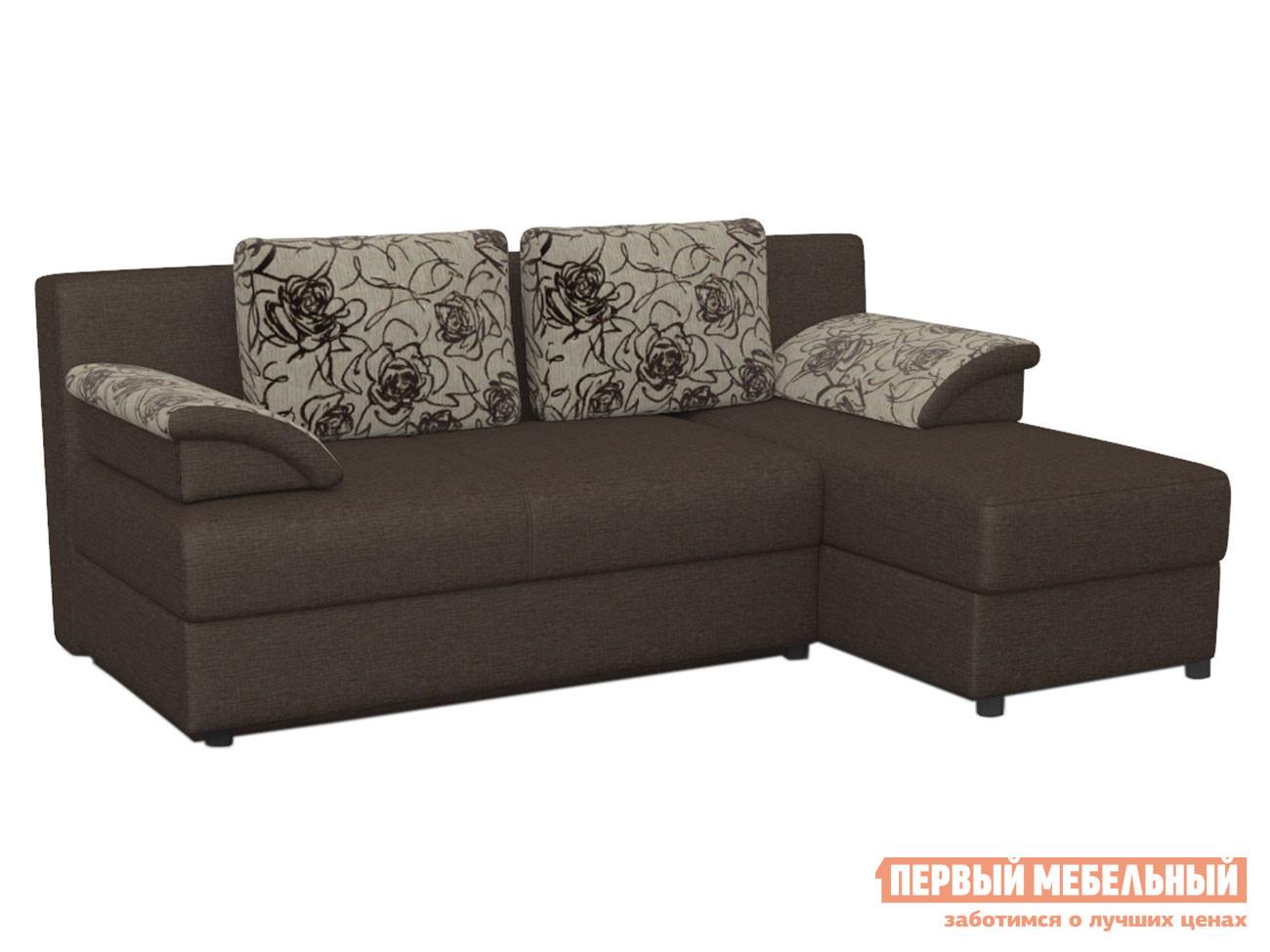 Угловой диван Диван Лира угловой без боковин Модерн коричневый (1 кат.), рогожка / Rose 2 (1 кат.), рогожка фото