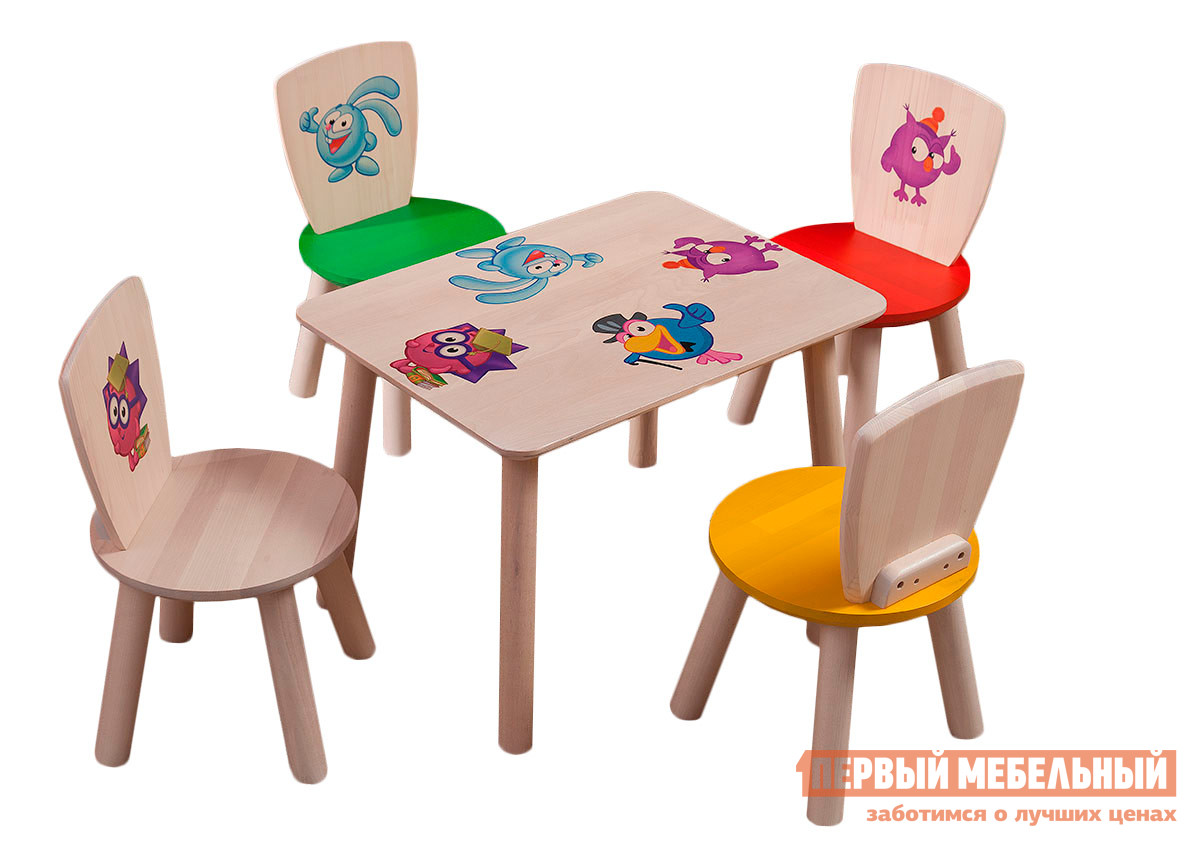 Столик и стульчик Боровичи Комплект (Стул детский, 4 шт.+Стол прямоугольный детский) Выбеленная березаСтолики и стульчики<br>Габаритные размеры ВхШхГ xx мм. Набор из столика и стульчиков с веселыми картинками.  Он прекрасно подойдет как для дома, так и для детских учреждений: на нем удобно рисовать, играть в настольные игры, лепить. В наборе:Столик (ВхШхГ): 440 х 555 х 445 мм;Стульчики, 4 шт.  (ВхШхГ): 540 х 290 х 230 мм. Изделия предназначены для детей от 2 до 5 лет. Высота от пола до сиденья стульчиков составляет 285 мм.  Изделия выполнены из массива березы.<br><br>Цвет: Выбеленная береза<br>Цвет: Светлое дерево<br>Кол-во упаковок: 5<br>Форма поставки: В разобранном виде<br>Срок гарантии: 18 месяцев<br>Материал: Деревянные, Из натурального дерева<br>Порода дерева: из березы<br>Пол: Для девочек, Для мальчиков