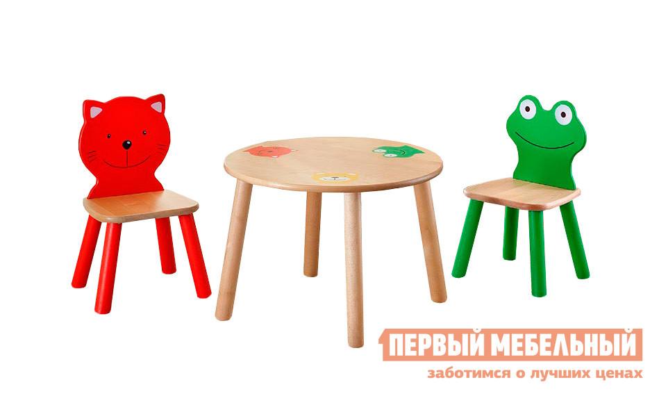 Столик и стульчик Боровичи Комплект (Стул детский Котенок+Стул детский Лягушонок+Стол детский круглый) Выбеленная березаСтолики и стульчики<br>Габаритные размеры ВхШхГ xx мм. Яркий и забавный комплект мебели для детей.  Он не только обеспечит удобное пространство для рисования и различных игр, но и сам станет игровой составляющей.  Очаровательный Лягушонок и Котенок составят малышам отличную компанию. В комплект входят:Столик (ВхШхГ): 440 х 600 х 600 мм;Стульчики, 2 шт.  (ВхШхГ): 540 х 290 х 230 мм. Изделия предназначены для детей от 2 до 5 лет. Высота от пола до сиденья стульчиков составляет 250 мм.  Изделия выполнены из массива березы.<br><br>Цвет: Светлое дерево<br>Кол-во упаковок: 3<br>Форма поставки: В разобранном виде<br>Срок гарантии: 18 месяцев<br>Материал: Дерево<br>Материал: Натуральное дерево<br>Порода дерева: Береза<br>Пол: Для девочек<br>Пол: Для мальчиков