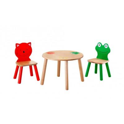 Столик и стульчик Боровичи Комплект (Стул детский Котенок+Стул детский Лягушонок+Стол детский круглый) Выбеленная береза