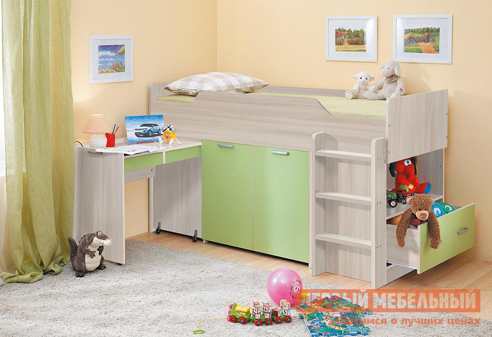 Кровать-чердак Боровичи Набор-Чердак Корпус Шимо светлый / Фасад Салатовый, Без матрасаКровати-чердаки<br>Габаритные размеры ВхШхГ 1140x1950x970 мм. Компактный, но в тоже время многофункциональный набор для детской — это прекрасный вариант для создания уютной и удобной обстановки в небольшой комнате.  Разнообразие цветовых решений позволит подобрать модель практически под любой интерьер. Набор сочетает в себе:комфортную кровать со спальным местом 800 х 1900 мм;выкатной столик с ящиками для учебы и творчества;шкафчик для вещей и одежды;выдвижной ящик и открытую нишу для книг и игрушек. Набор универсальный: может собираться как на правую, так и на левую сторону. Обратите внимание! Необходимо выбрать удобный для вас вариант покупки набора: с матрасом или без него.  Ознакомиться с матрасом, который входит в комплект к кровати, вы можете в разделе «Аксессуары». Изделие выполняется из ЛДСП.<br><br>Цвет: Зеленый<br>Высота мм: 1140<br>Ширина мм: 1950<br>Глубина мм: 970<br>Кол-во упаковок: 2<br>Форма поставки: В разобранном виде<br>Срок гарантии: 18 месяцев<br>Тип: Трансформер<br>Назначение: Детские<br>Материал: Дерево<br>Материал: ЛДСП<br>Размер: Спальное место 80Х190<br>С ящиками: Да<br>Со шкафом: Да<br>С полками: Да<br>С рабочей зоной: Да<br>Пол: Для девочек<br>Пол: Для мальчиков
