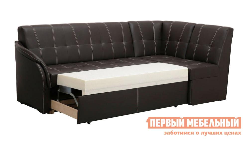 Кухонный уголок Боровичи Угловой диван со спальным местом (Релакс) Boom Espresso (иск.кожа), 1 кат., Левый