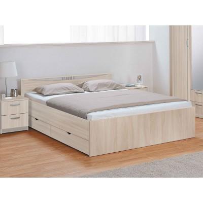 Кровать Боровичи Мелисса с ящиками Шимо светлый, Спальное место 1600 X 2000 мм