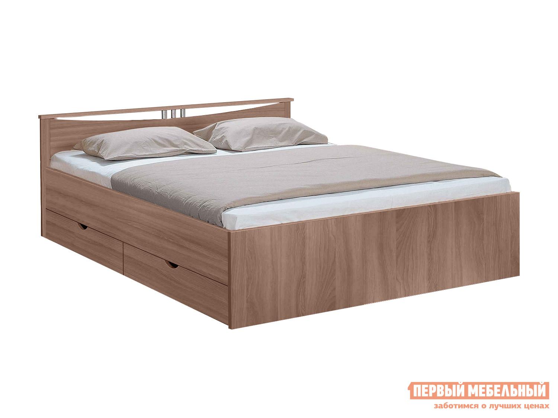Кровать Боровичи Мелисса с ящиками Шимо темный, Спальное место 1200 Х 2000 мм от Купистол